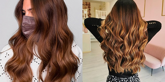 femme cheveux balayage caramel