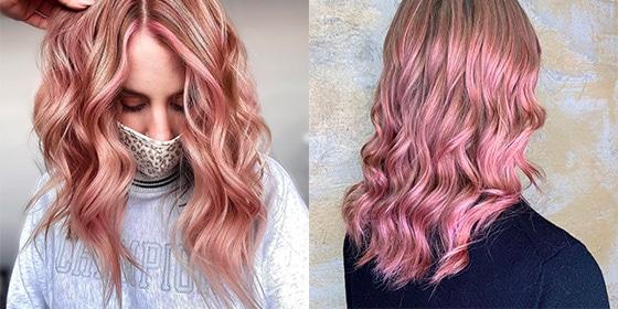 femme cheveux rose poudrés cendrés