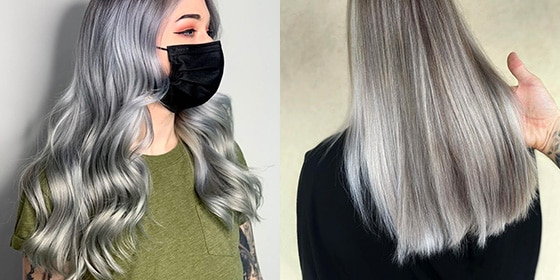 femme cheveux gris