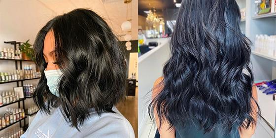 femme cheveux noir de jais